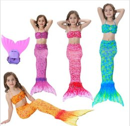 Barato Terno Dos Miúdos Dos Biquinis-dongguan em estoque 2018 Kids Girls Mermaid Tail Suit com Monofin Little Mermaid Tails Swimsuit Swimbing com biquíni Fancy Dress