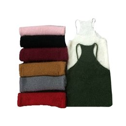 knitted rabbit vest UK - New Simple 8 Colors Rabbit wool Sleeveless Tank Top Short Sweater Knitting Vest womens camisole tops