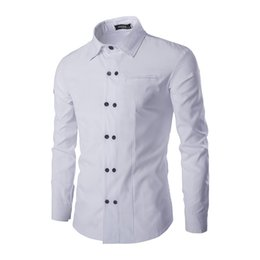 $enCountryForm.capitalKeyWord Canada - Free Shipping High quality Summer button shirts new Korean double-breasted design shirt men's fashion Slim long-sleeved shirt