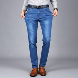 Mens capris wholesale online shopping - New Mens Stretch Jeans Summer Lightweight Thin Denim Black Blue Slim Fit Dress Jeans Blue Dark Blue Black Colors