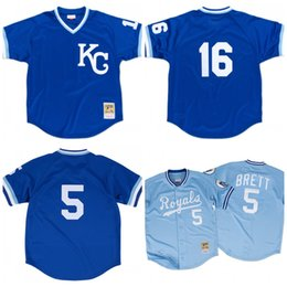 half off 849b5 5dc7a kansas city royals 5 george brett light blue throwback jersey