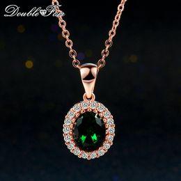 Gold Emerald Pendant Canada - Imitation Emerald Elegant Necklaces & Pendants 18K Rose Gold Pated Green Crystal Fashion Wedding CZ Diamond Jewelry For Wonem Girls DFN247