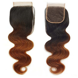 $enCountryForm.capitalKeyWord NZ - Brazilian Vrigin Hair Body Wave Ombre Two Tone Lace Closure Body Wave 1b 30 Lace Closure 4*4 Lace Closure