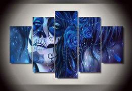 Painting Faces Australia - Unframed Printed Day of The Dead Face Painting on Canvas Room Decoration Print Poster Picture Canvas Art Picture HD Print