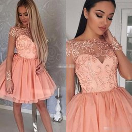 Robes De Bal Peu Courtes Pas Cher-Blush Pink Robes de soirée courtes Sheer Lace à manches courtes 2017 Cheap 8th College Junior Homecoming Dress for Cocktail Prom Gowns