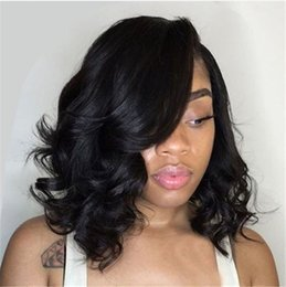 Discount short hairstyles for wavy hair - Full Lace Wigs Wavy Hair Swiss Lace Front Short Bob Wigs Mongolian Pre Plucked Human Hair Wigs for Black Women E