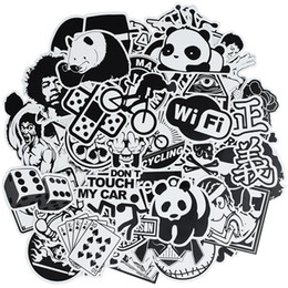 China 50 pcs Random black and white punk anime stickers home decor sticker on luggage motor bike skateboard wall decals stickers for kids cheap korean home style suppliers