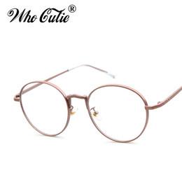 3849e186b0 OMS CUTIE Ronda Claras Gafas Falsas 2017 Mujeres Círculo Lente Óptica Gafas  Retro Oro Marco de Metal Llanura Lentes Oculos OM365