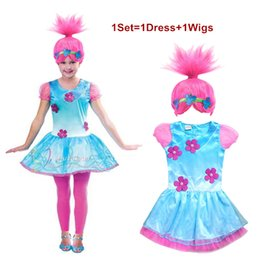 skirt stars 2019 - Trolls Cosplay Clothes Dress+Wigs Set Trolls Dress For Girls Party Skirt Net Yarn Sleeve For Girls Summer Dress Girls Co