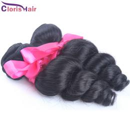 human loose curl hair bundles 2019 - Perfect Peruvian Loose Curl Weft 2 pcs Unprocessed Loose Wave Peruvian Hair Weave Bundles Cheap Natural Curly Human Hair