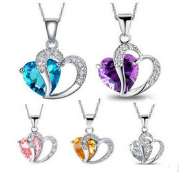 Discount amethyst pendant heart - Women Crystal Love Heart Pendants Necklaces Jewelry Fashion Girls Lady Heart Crystal Amethyst Pendant Necklace NEW Jewel