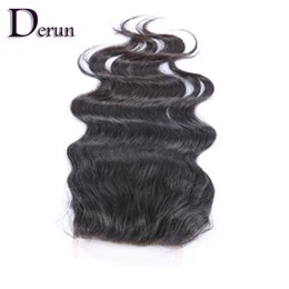 """Chinese  Fast Shipping!!100% Unprocessed Peruvian Human Hair Lace Top Closure Body Wave 4""""x4"""" 8-20 inch Free Parting   Middle Parting manufacturers"""