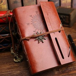 Vintage Leather Books Canada - 1Pcs set New Diary Notebook Vintage Pirate Note Book Replaceable Traveler Notepad Book Leather Cover Blank Notebook