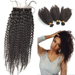 $enCountryForm.capitalKeyWord NZ - Brazilian Virgin Hair 3 Bundles Afro Kinky With Closure 4x4 Silk Base Closure With Bundles Free Shipping FDSHINE