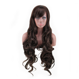 $enCountryForm.capitalKeyWord Canada - WoodFestival sexy womens brown wig long curly synthetic fiber wigs for black women deep wave hair wigs natural cheap hair wig 85cm