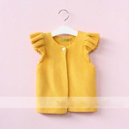Cardigans Grises Baratos-Everweekend Girls Suéter de punto dulce Cardigans Fly Sleeve Ruffles Chalecos Amarillo y gris Color Cute Children Jackets