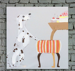 $enCountryForm.capitalKeyWord NZ - Cute Spotty Dog Picture Art Painting on Canvas Handpainted Cartoon Animal Prints Wall for Baby Room or Living Room No Frame