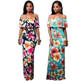 Vestidos Multicolores Pas Cher-1 pcs Robe d'été 2017 Vêtements Femme à manches courtes Multicolor Floral Print Off The Shoulder Ruffle Gaine Robe robe vestidos plus taille