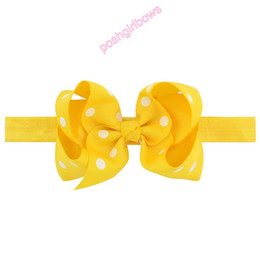 $enCountryForm.capitalKeyWord Australia - free shipping 50pcs 4.5'' Children Bowknot ribbon Elastic Headband Baby Kids Headband Cute Ribbon Polka Dot Girl Hair Bow Accessories