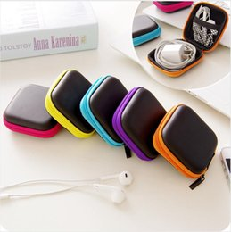 Battery Storage Organizer Canada - Earphone Wire Cables Storage Box Zipper Protective Data Line battery Storage Container Organizer Case Earbuds SD Card Box colorful color