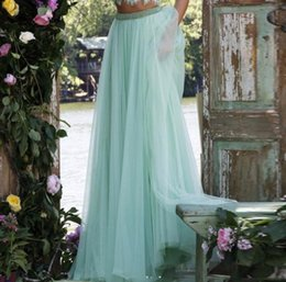 Mint Green Tutu NZ - Delicate Long Mint Green Lilac Tulle Skirts For Women Crystal Beaded Waistband Tutu Skirt fashion Style Pleat Summer Style