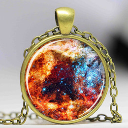 $enCountryForm.capitalKeyWord Canada - Free shipping Nebula Jewelry Galaxy Orion Silver Universe Necklace For Men Art Pendant Glass Cabochon Necklace