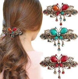 Flower Hair Clip Vintage Canada - Elegant Women Retro Vintage Crystal Diamond Butterfly Flower Hair Barrettes Hair Clips Hair Band Accessories 10pcs free shipping