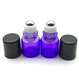 Discount refillable tubes - Refillable Perfume Mini Blue Roll Glass Bottle 1ml Sample Roller on Bottle Essential Oil Tube Vial