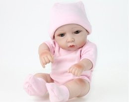 girls silicone dolls Canada - 10 INCH New Cute Reborn Baby Doll Soft Vinyl Silicone Lifelike Newborn Baby doll for Girl Gift free Epacet