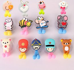 Two piece baThroom online shopping - Multifunctional Cute Cartoon Animal Suction Cup Toothbrush Holder Hooks Bathroom Accessories Colors