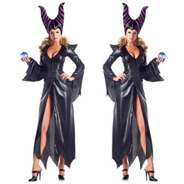 Wholesale sexy witch halloween fancy dress for sale – halloween Sexy Magic Witch Cosplay Long Dress Women Halloween Themed Party Sorceress Costume Fancy Dress Carnival Black Robe