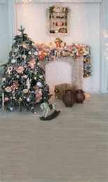 lighting backdrops photography NZ - Sparkle Light Merry Xmas Photography Backdrop Indoor Decorated Christmas Tree with Balls Flowers Trojan Horse Kids Children Photo Background