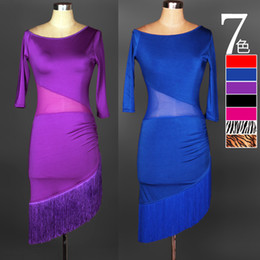 $enCountryForm.capitalKeyWord NZ - Free Shipping 7Color Blue Red Adult Girls Latin Dance Dress Salsa Tango Chacha Ballroom Competition Dance Dress Mesh Stitching Tassel Dress
