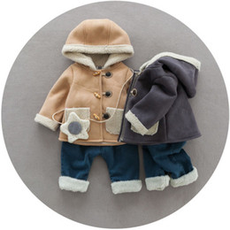 Barato Coreano Crianças Produtos-2017 Winter New Product Child suit Coreano Little Boy Trend Fashion College Vento Hooded Child Suit