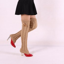 Chaussettes À Bas Prix Pas Cher-Vente en gros- Design Femmes Winter Lady Crochet Tricoté Stocking Leg Warmers Boot Thigh High Chaussettes Chaussettes en laine à bas prix à la main VS080 T45