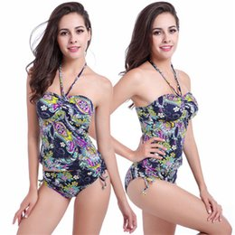 Barato Esportes Tubo Sexy-Mulheres Swimwear Tankinis Suit Tube Top Printing Alta cintura Two Color Tight Halter Backless Sexy Figure Flattering Wedding Sport