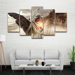 China 5 Panel Canvas Wall Art Angel Girl Wings Painting Modular Picture HD Prints Artwork for Home Decor Living Room Decorate Bedroom supplier wing paintings suppliers