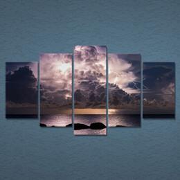 $enCountryForm.capitalKeyWord Canada - 5 Pcs Set Framed HD Printed Canvas Prints Wall Art Black Clouds Lightning Painting Picutre Print Home Decor Living Room Poster