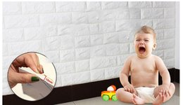 Stickers For Walls Kids NZ - 3D Brick Pattern Wallpaper Modern White Brick Wall Sticker Decal For Living Room Soft WallPaper to Protect Kids