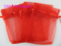 jewlery pouches NZ - OMH wholesale Big red color beige100pcs 7x9cm nice chinese voile Christmas Wedding gift bag Organza Bags Jewlery Gift Pouch BZ04-2