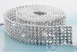 $enCountryForm.capitalKeyWord NZ - Free Shipping 6 Rows Iron on Rhinestone Mesh Trim Crystal in Silver Base with Back Glue for Bridal Dress,Cake,Wine and Wedding