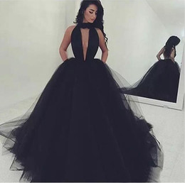 Barato Vestidos Longos Pretos China-Sexy 2017 Black Tulle Backless Prom Dresses Long Modest High Neck Keyhole Formal Party Evening Gowns Custom Made China EN7258