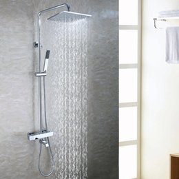 bath tub exposed shower faucet set 10 inch bathroom rain shower head brass hand shower holder bath mixer valve - Shower Valves