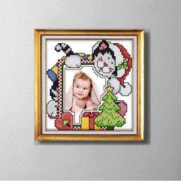 lovely paintings NZ - CHRISTMAS CAT photo frame lovely cartoon painting counted printed on canvas DMC 14CT 11CT Cross Stitch Needlework Set Embroidery kit