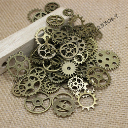 gear fit bracelet Australia - PULCHRITUDE Mix100pcs Vintage steampunk Charms Gear Pendant Antique bronze Fit Bracelets Necklace DIY Metal Jewelry Making T0125