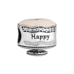 sports cakes UK - Happy Birthday Cake Charm Mixed Enamel Clear CZ 2017 Spring 100% 925 Sterling Silver Bead Fit Pandora Bracelet Authentic DIY Fashion Jewelry