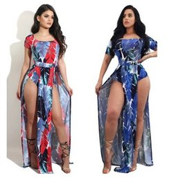 Split Short Open Pas Cher-Women Leaf Print Jumpsuit Robe Jambes Open Floral Beach Casual Holiday Combinaison Romper Double Side Split Sexy Clubwear Bodycon Party Costume