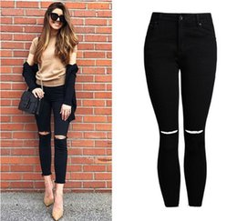 Lady Black Jeans Fashion Pas Cher-017 Fashion High Waist Jeans Coton Denim Pants Stretch Ladies Ripped Knee Skinny Jeans Black Cheville Jeans
