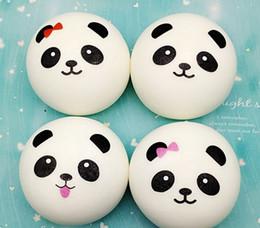 Discount large panda toy - 10pcs lot-Wholesale Cute 10CM Slow rebound large 10cm panda Pendant Squishy white bread cake panda toy shokugan simulati