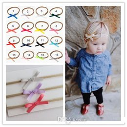diy baby elastic headbands bows 2019 - New Baby Ribbon Bow Nylon Headbands Childrens Hair Accessories Girls Handmade DIY Hair Bows Elastic Hairband Fashion Inf